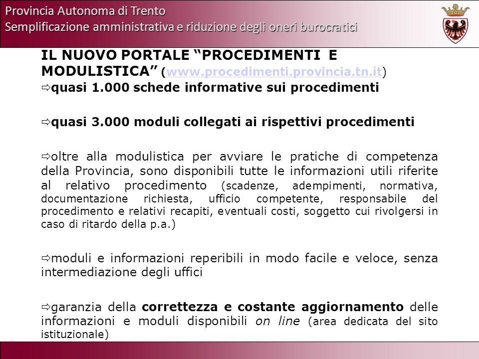 Provincia Autonoma di Trento Semplificazione amministrativa e riduzione degli oneri burocratici IL NUOVO PORTALE PROCEDIMENTI E MODULISTICA ( www.proc