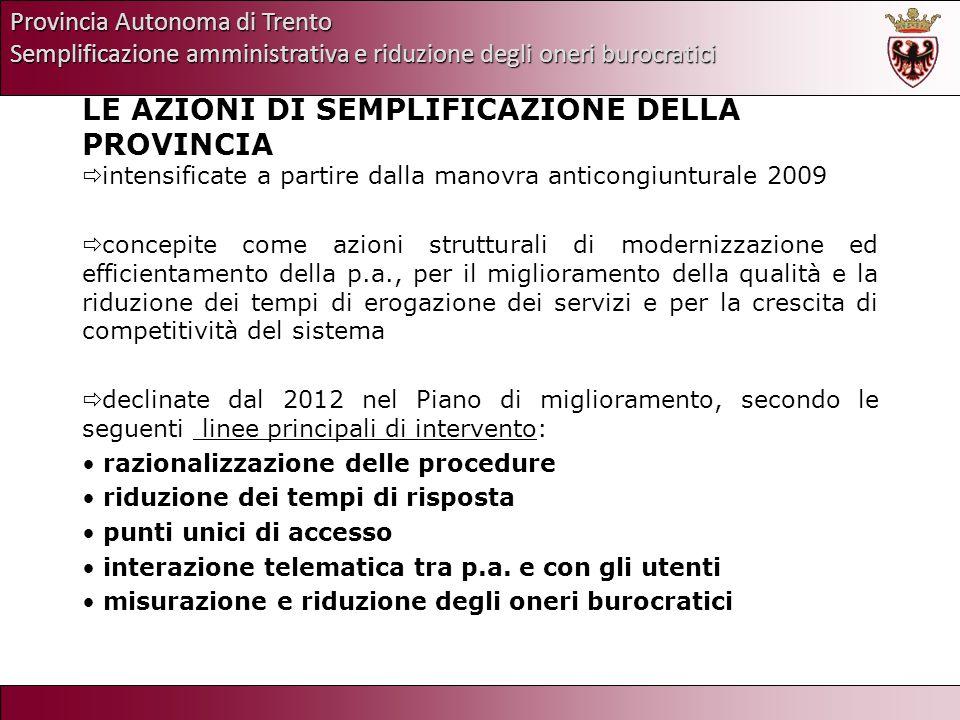 Provincia Autonoma di Trento Semplificazione amministrativa e riduzione degli oneri burocratici LE AZIONI DI SEMPLIFICAZIONE DELLA PROVINCIA intensifi