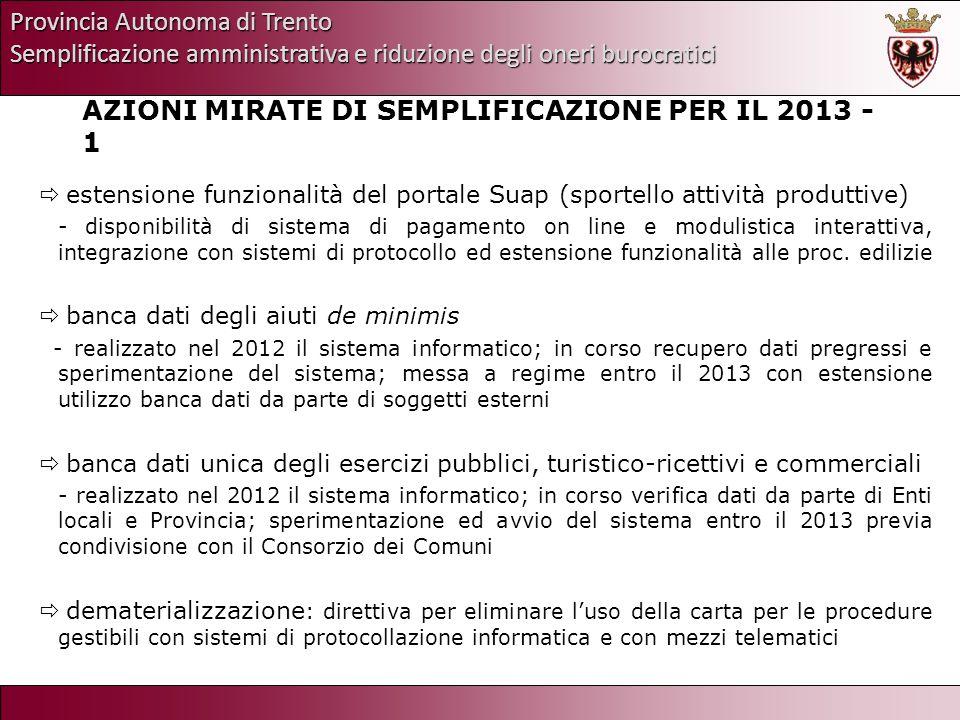 Provincia Autonoma di Trento Semplificazione amministrativa e riduzione degli oneri burocratici AZIONI MIRATE DI SEMPLIFICAZIONE PER IL 2013 - 1 esten