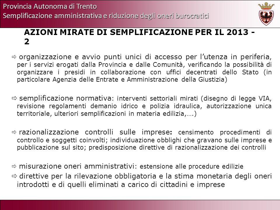 Provincia Autonoma di Trento Semplificazione amministrativa e riduzione degli oneri burocratici AZIONI MIRATE DI SEMPLIFICAZIONE PER IL 2013 - 2 organ