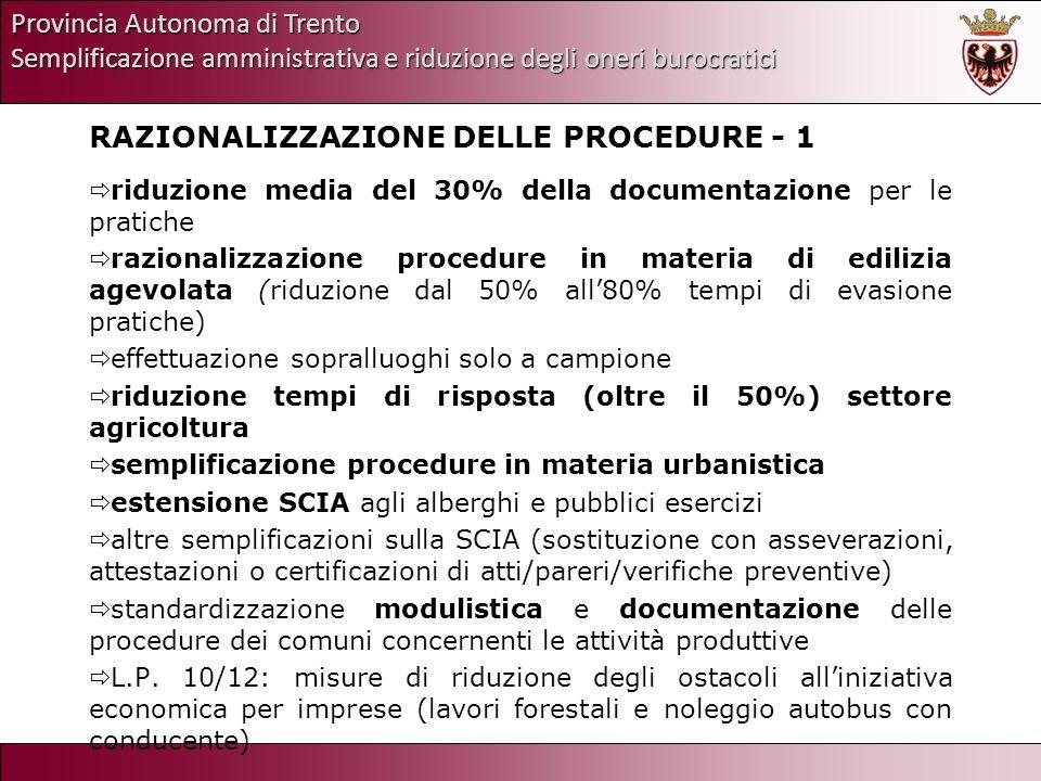 Provincia Autonoma di Trento Semplificazione amministrativa e riduzione degli oneri burocratici RAZIONALIZZAZIONE DELLE PROCEDURE - 1 riduzione media