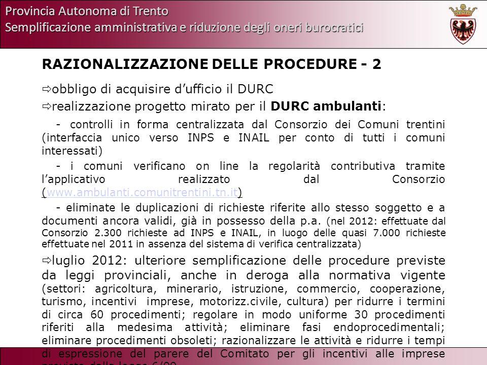 Provincia Autonoma di Trento Semplificazione amministrativa e riduzione degli oneri burocratici RAZIONALIZZAZIONE DELLE PROCEDURE - 2 obbligo di acqui