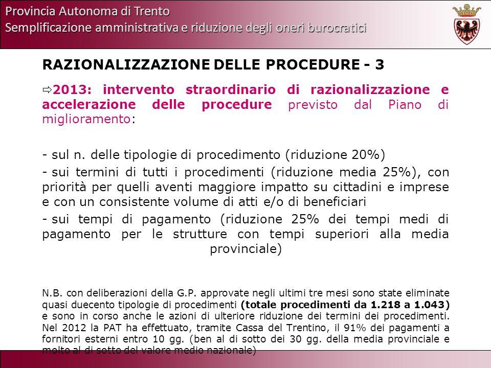 Provincia Autonoma di Trento Semplificazione amministrativa e riduzione degli oneri burocratici RAZIONALIZZAZIONE DELLE PROCEDURE - 3 2013: intervento