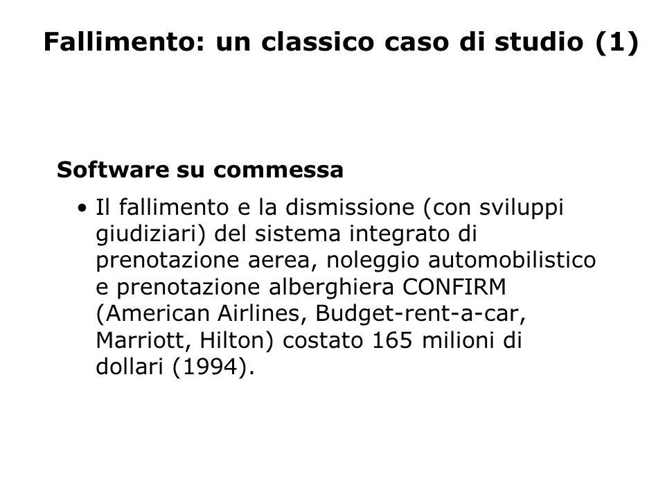 Fallimento: un classico caso di studio (1) Software su commessa Il fallimento e la dismissione (con sviluppi giudiziari) del sistema integrato di prenotazione aerea, noleggio automobilistico e prenotazione alberghiera CONFIRM (American Airlines, Budget-rent-a-car, Marriott, Hilton) costato 165 milioni di dollari (1994).