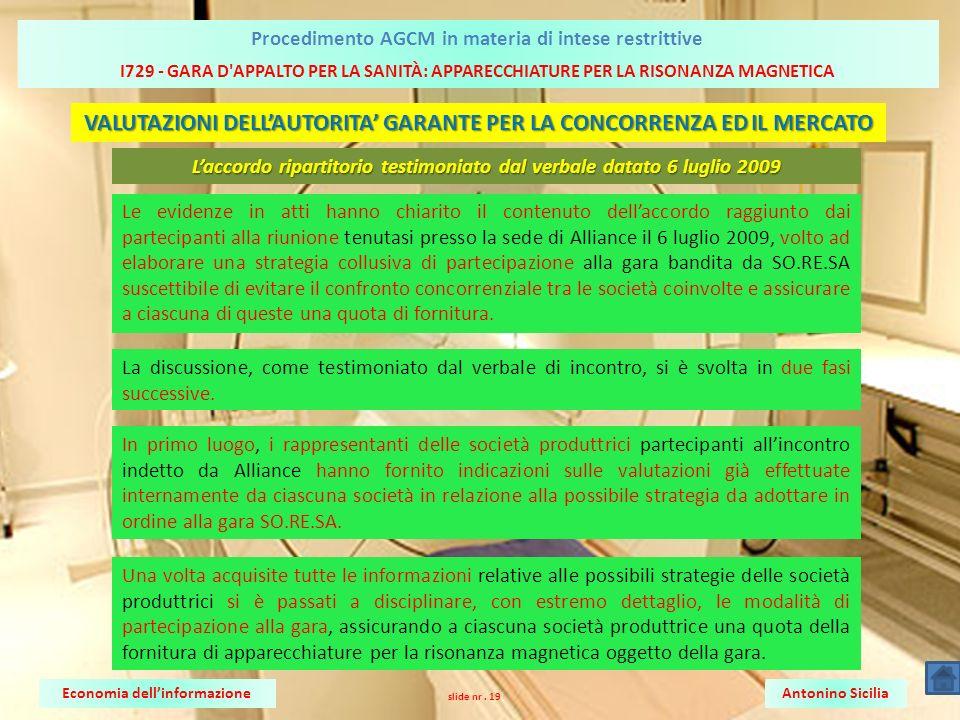 I729 - GARA D APPALTO PER LA SANITÀ: APPARECCHIATURE PER LA RISONANZA MAGNETICA Antonino SiciliaEconomia dellinformazione Procedimento AGCM in materia di intese restrittive slide nr.