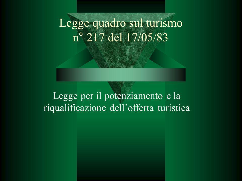Legge quadro sul turismo n° 217 del 17/05/83 Legge per il potenziamento e la riqualificazione dellofferta turistica