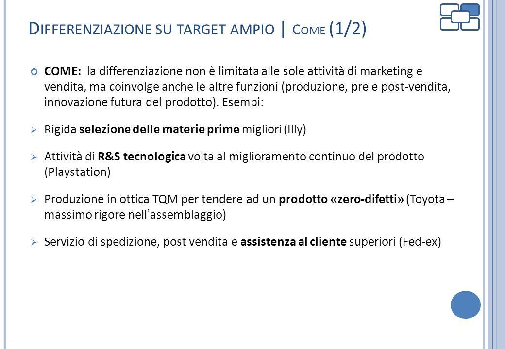 D IFFERENZIAZIONE SU TARGET AMPIO | C OME (1/2) COME: la differenziazione non è limitata alle sole attività di marketing e vendita, ma coinvolge anche