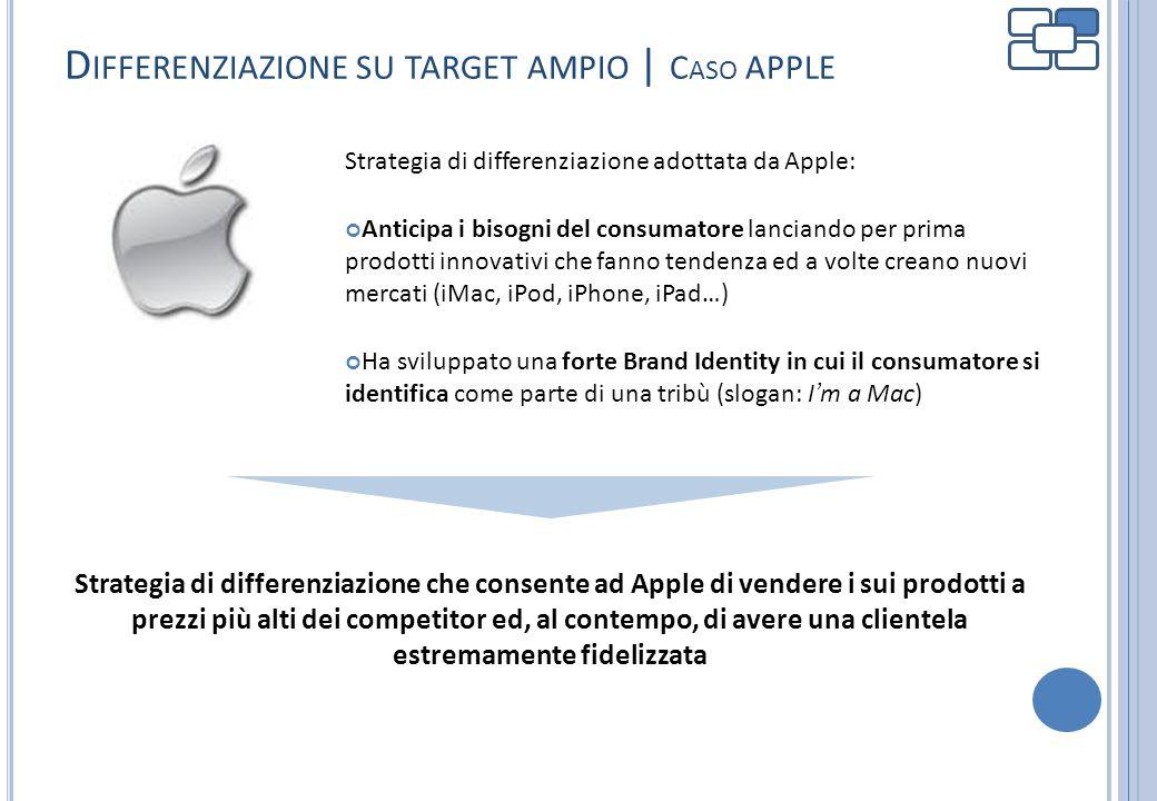 D IFFERENZIAZIONE SU TARGET AMPIO | C ASO APPLE Strategia di differenziazione adottata da Apple: Anticipa i bisogni del consumatore lanciando per prim