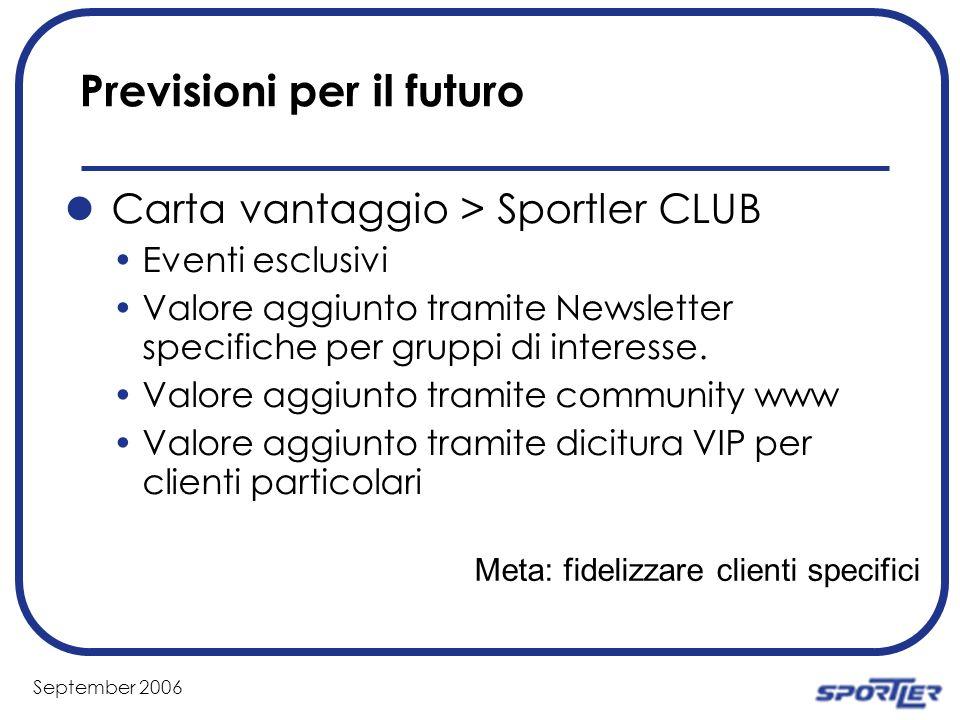 September 2006 Previsioni per il futuro Carta vantaggio > Sportler CLUB Eventi esclusivi Valore aggiunto tramite Newsletter specifiche per gruppi di interesse.