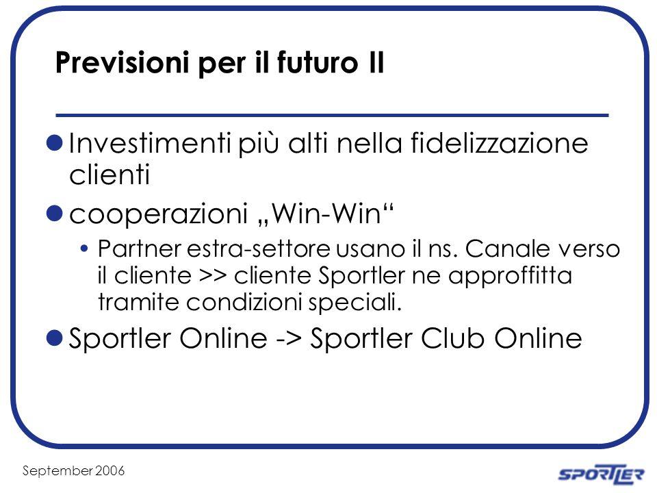 September 2006 Previsioni per il futuro II Investimenti più alti nella fidelizzazione clienti cooperazioni Win-Win Partner estra-settore usano il ns.
