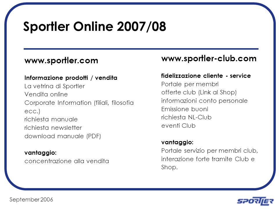 September 2006 Sportler Online 2007/08 www.sportler-club.com fidelizzazione cliente - service Portale per membri offerte club (Link al Shop) informazi