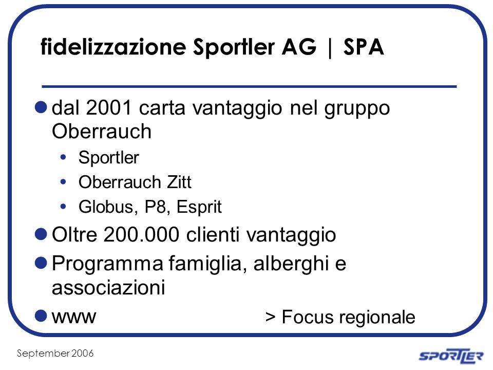 September 2006 fidelizzazione Sportler AG | SPA dal 2001 carta vantaggio nel gruppo Oberrauch Sportler Oberrauch Zitt Globus, P8, Esprit Oltre 200.000 clienti vantaggio Programma famiglia, alberghi e associazioni www > Focus regionale