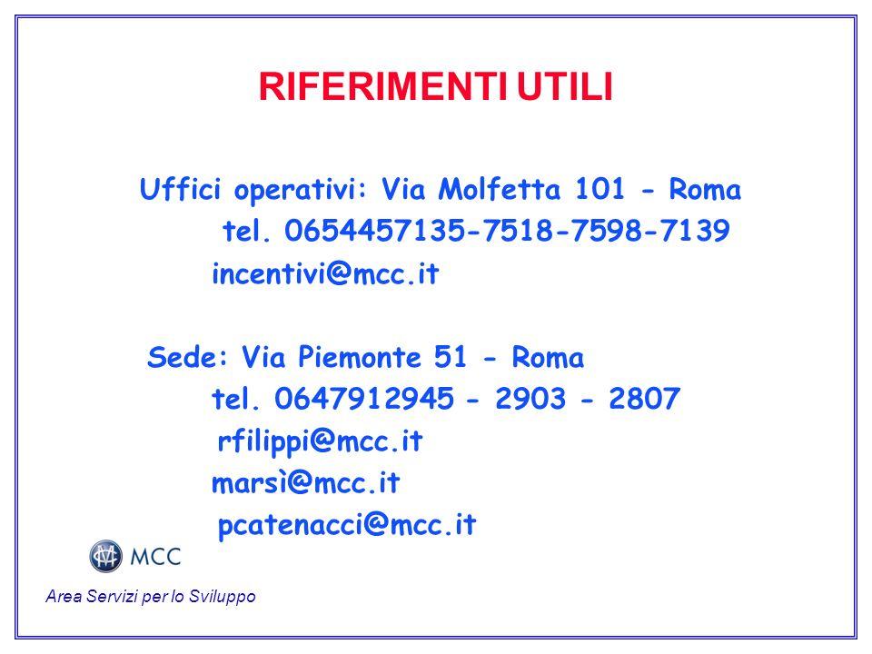 RIFERIMENTI UTILI Uffici operativi: Via Molfetta 101 - Roma tel.