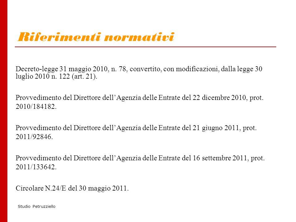 Studio Petruzziello Riferimenti normativi Decreto-legge 31 maggio 2010, n.