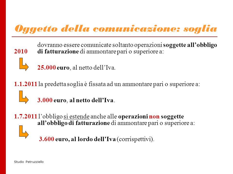 Studio Petruzziello Oggetto della comunicazione: soglia dovranno essere comunicate soltanto operazioni soggette allobbligo 2010di fatturazione di ammontare pari o superiore a: 25.000 euro, al netto dellIva.