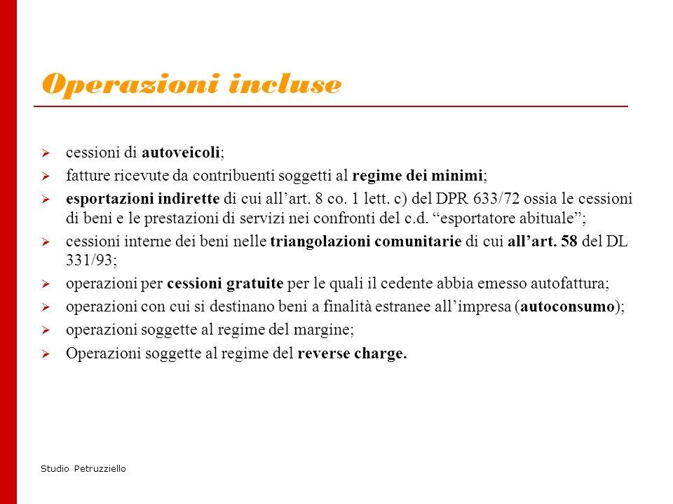 Studio Petruzziello Operazioni incluse cessioni di autoveicoli; fatture ricevute da contribuenti soggetti al regime dei minimi; esportazioni indirette di cui allart.