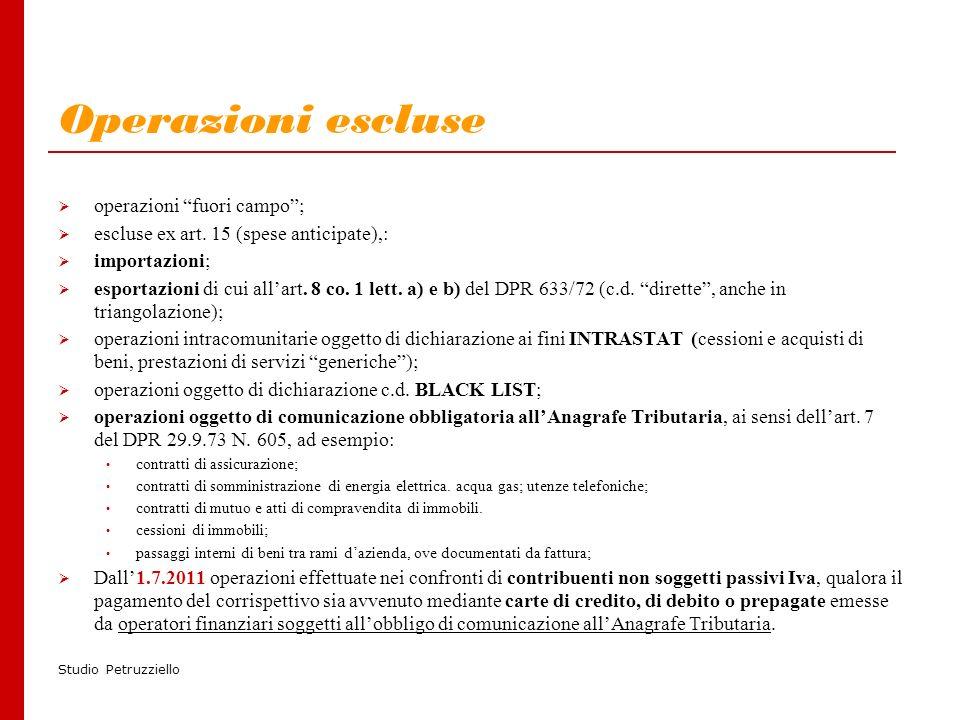 Studio Petruzziello Operazioni escluse operazioni fuori campo; escluse ex art.