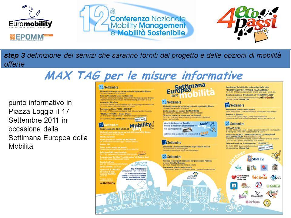 punto informativo in Piazza Loggia il 17 Settembre 2011 in occasione della Settimana Europea della Mobilità step 3 definizione dei servizi che saranno forniti dal progetto e delle opzioni di mobilità offerte MAX TAG per le misure informative