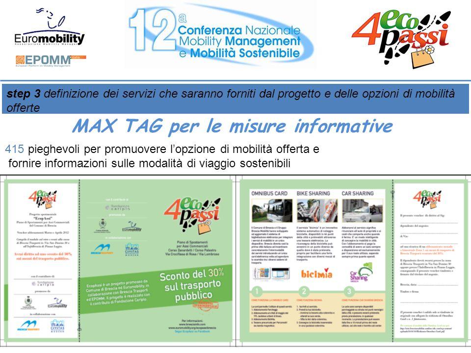 415 pieghevoli per promuovere lopzione di mobilità offerta e fornire informazioni sulle modalità di viaggio sostenibili step 3 definizione dei servizi che saranno forniti dal progetto e delle opzioni di mobilità offerte MAX TAG per le misure informative