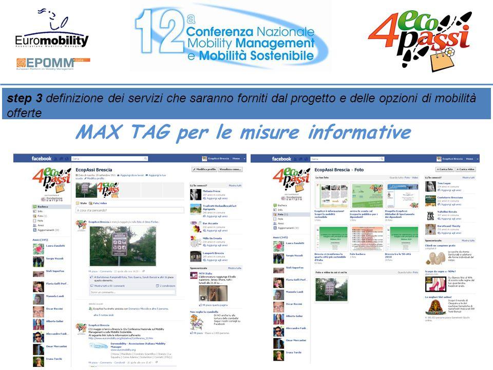 step 3 definizione dei servizi che saranno forniti dal progetto e delle opzioni di mobilità offerte MAX TAG per le misure informative