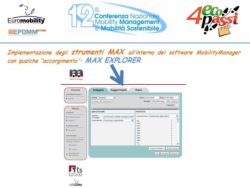 Implementazione degli strumenti MAX allinterno del software MobilityManager con qualche accorgimento: MAX EXPLORER