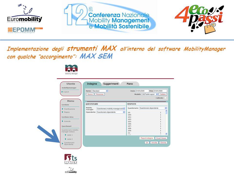 Implementazione degli strumenti MAX allinterno del software MobilityManager con qualche accorgimento: MAX SEM