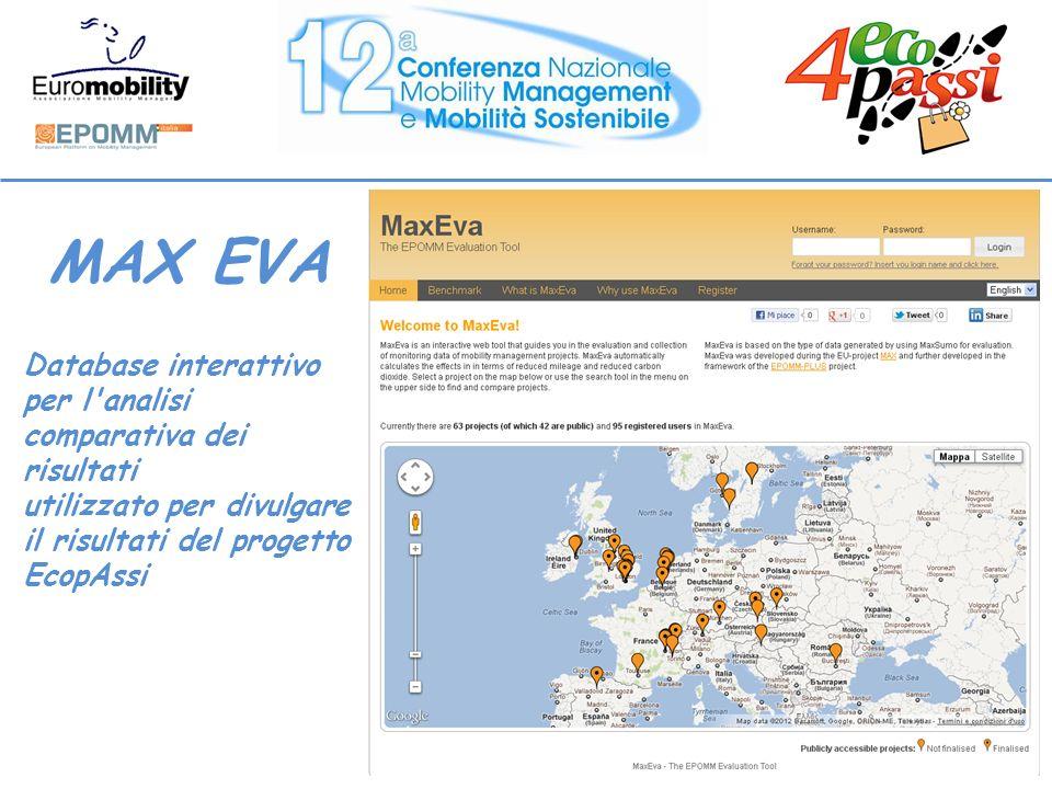 MAX EVA Database interattivo per l analisi comparativa dei risultati utilizzato per divulgare il risultati del progetto EcopAssi