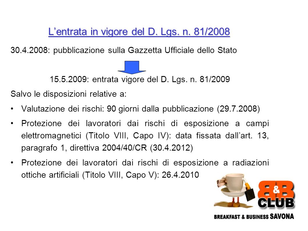 30.4.2008: pubblicazione sulla Gazzetta Ufficiale dello Stato 15.5.2009: entrata vigore del D.