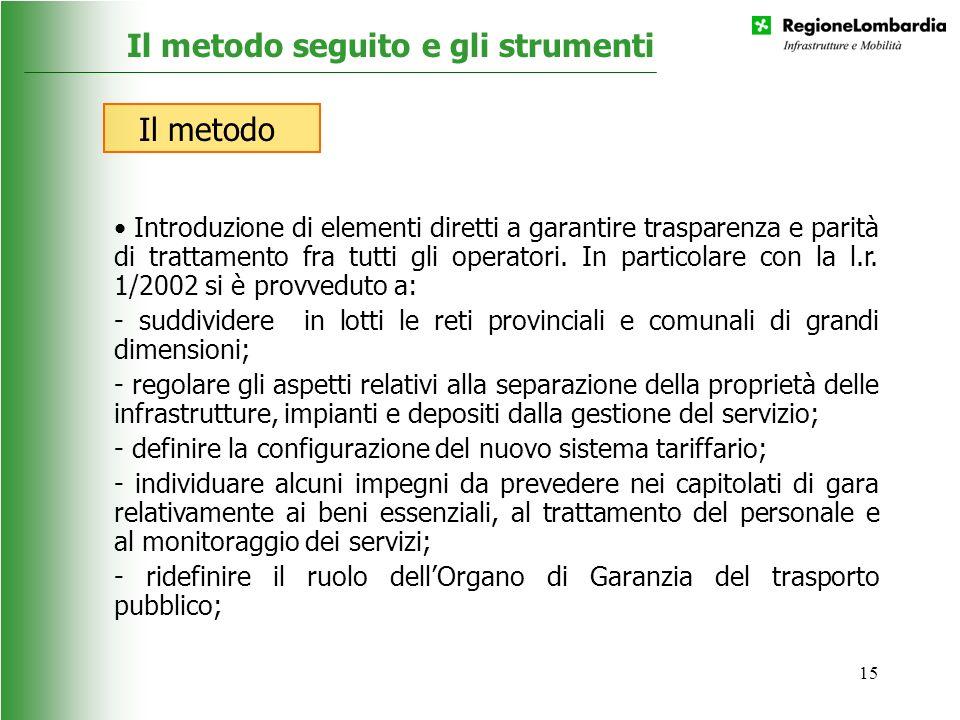 15 Introduzione di elementi diretti a garantire trasparenza e parità di trattamento fra tutti gli operatori. In particolare con la l.r. 1/2002 si è pr