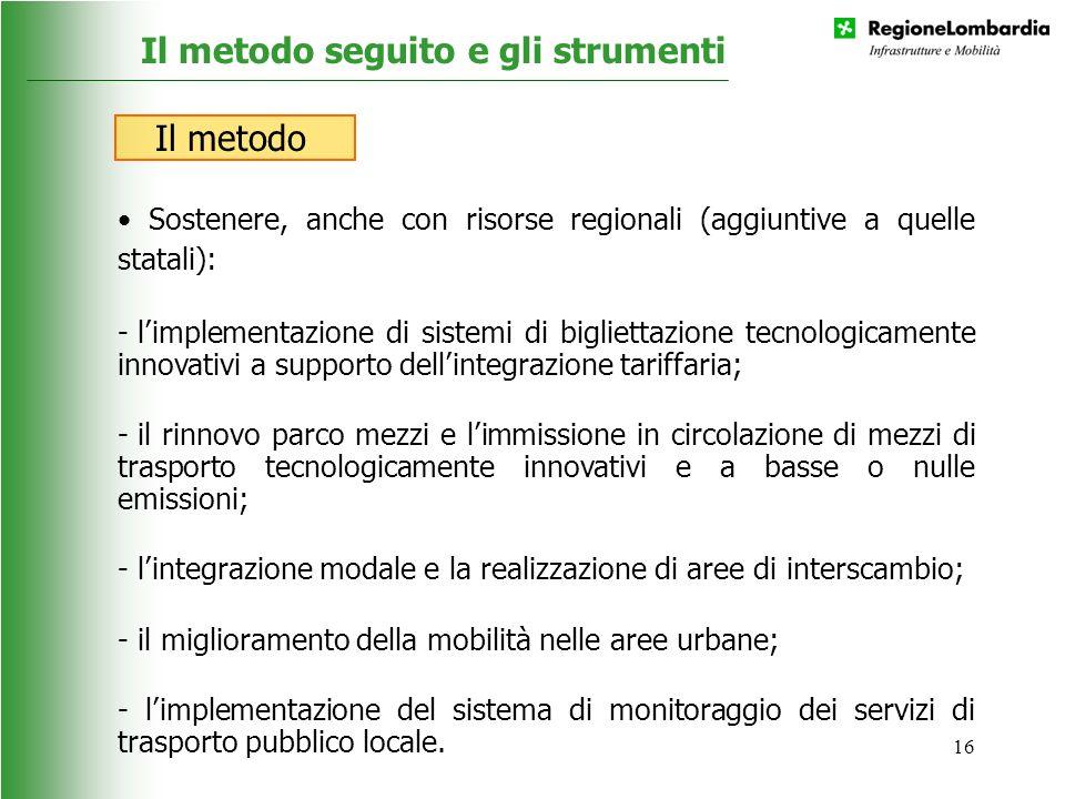 16 Sostenere, anche con risorse regionali (aggiuntive a quelle statali): - limplementazione di sistemi di bigliettazione tecnologicamente innovativi a