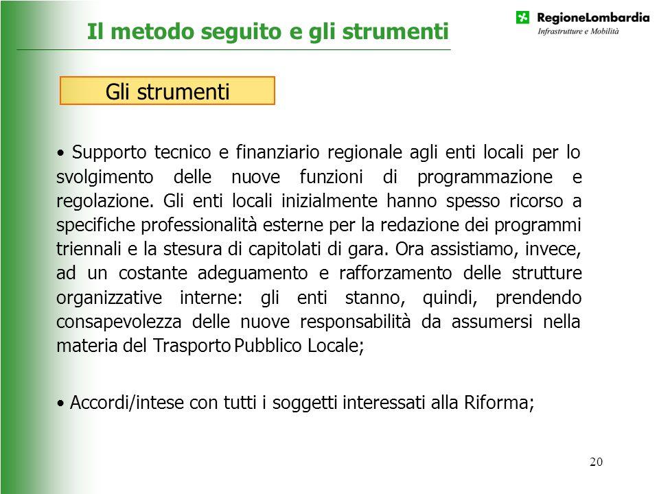 20 Supporto tecnico e finanziario regionale agli enti locali per lo svolgimento delle nuove funzioni di programmazione e regolazione. Gli enti locali