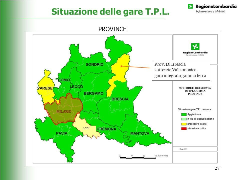 27 Situazione delle gare T.P.L. LODI Prov. Di Brescia sottorete Valcamonica gara integrata gomma ferro MILANO PROVINCE