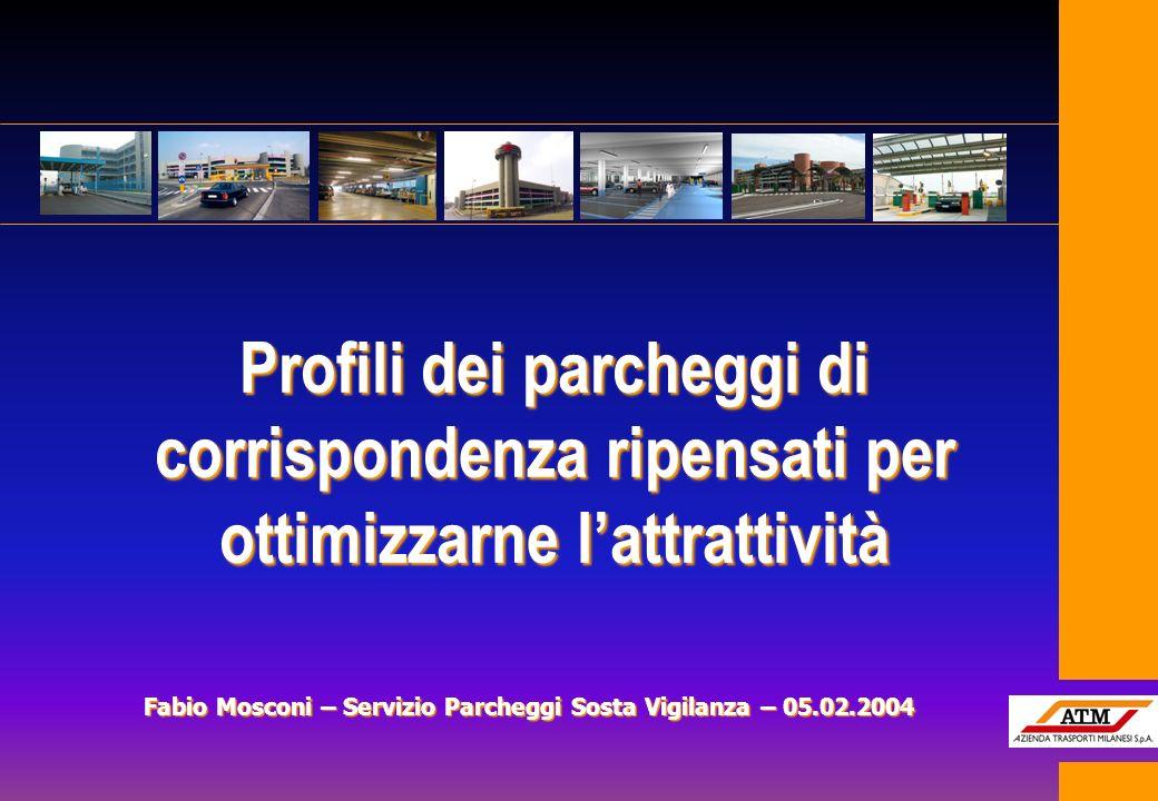 Profili dei parcheggi di corrispondenza ripensati per ottimizzarne lattrattività Fabio Mosconi – Servizio Parcheggi Sosta Vigilanza – 05.02.2004