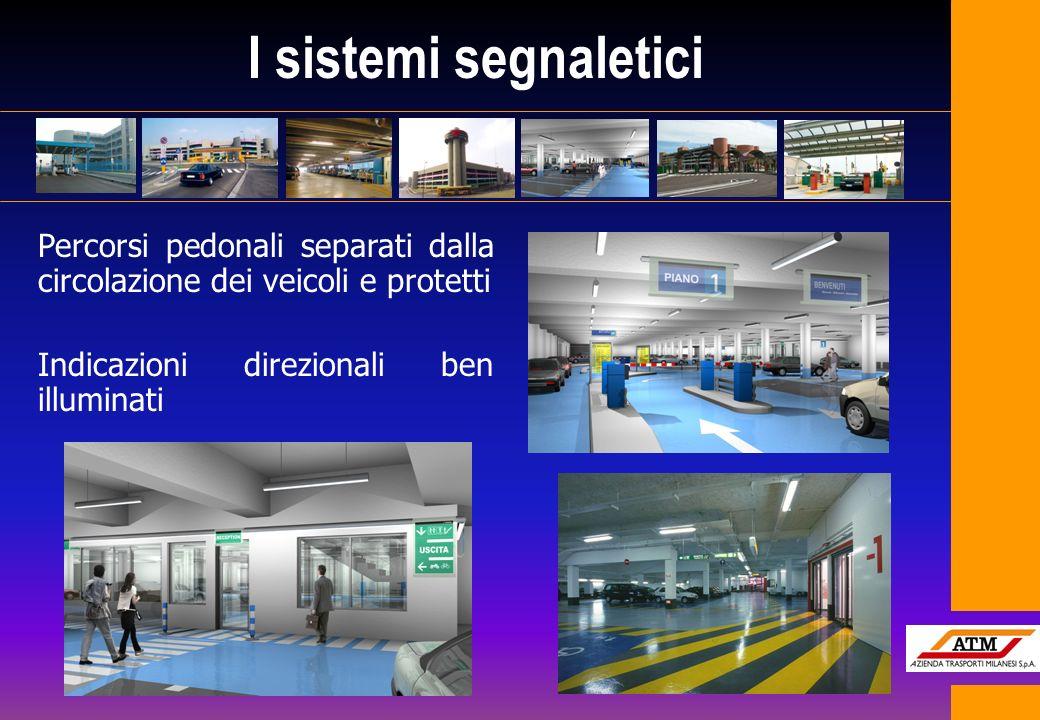 I sistemi segnaletici Percorsi pedonali separati dalla circolazione dei veicoli e protetti Indicazioni direzionali ben illuminati