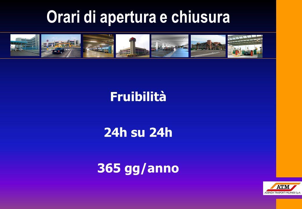 Fruibilità 24h su 24h 365 gg/anno Orari di apertura e chiusura