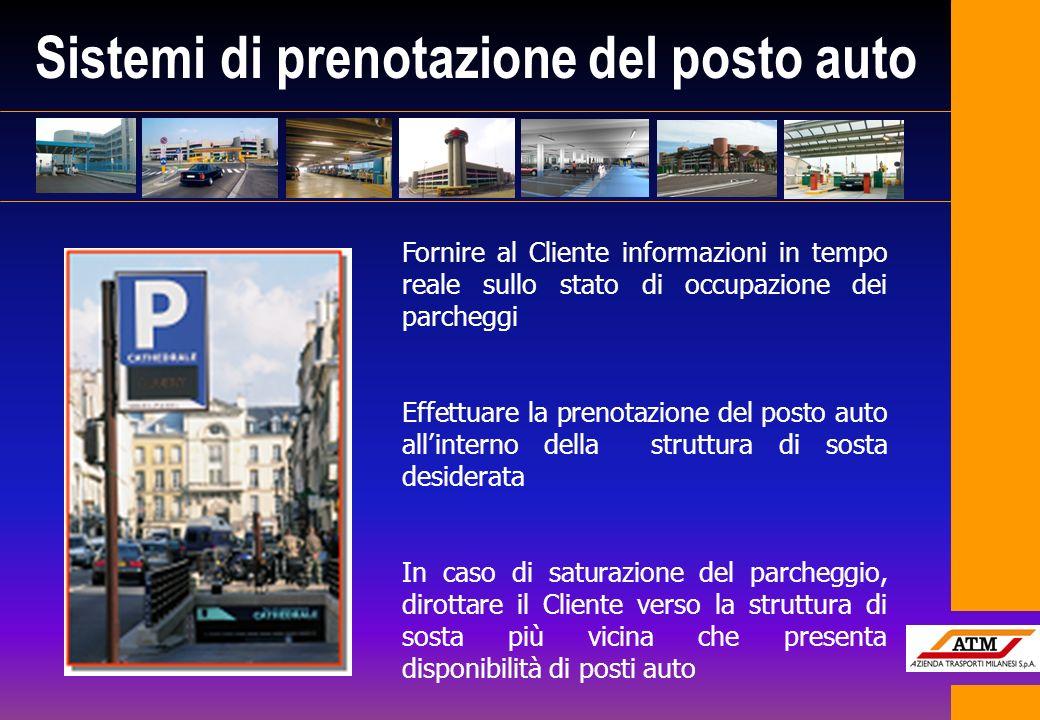 Sistemi di prenotazione del posto auto Fornire al Cliente informazioni in tempo reale sullo stato di occupazione dei parcheggi Effettuare la prenotazi