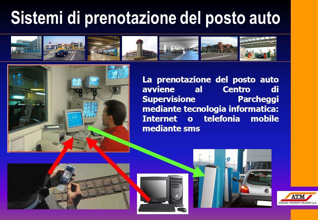 Sistemi di prenotazione del posto auto La prenotazione del posto auto avviene al Centro di Supervisione Parcheggi mediante tecnologia informatica: Int