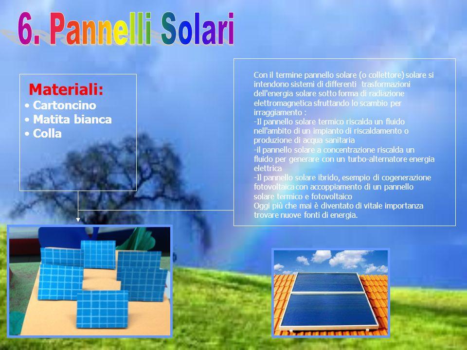 Materiali: Cartoncino Matita bianca Colla Con il termine pannello solare (o collettore) solare si intendono sistemi di differenti trasformazioni dell'