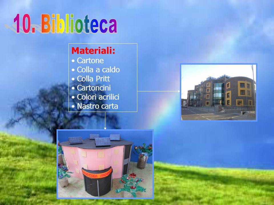 Materiali: Cartone Colla a caldo Colla Pritt Cartoncini Colori acrilici Nastro carta