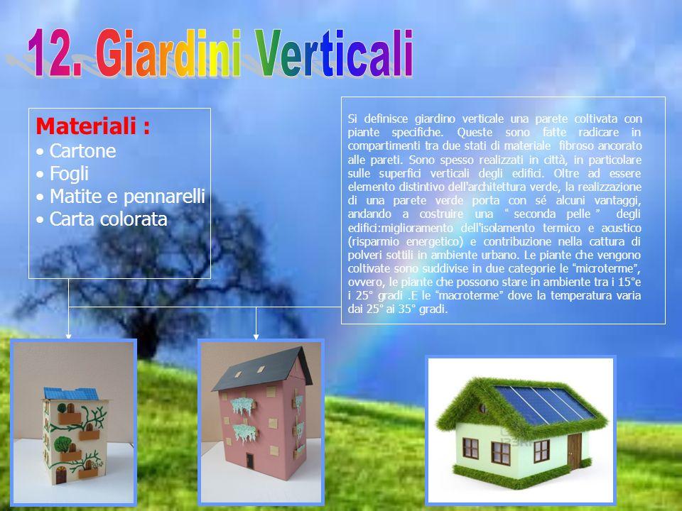 Materiali : Cartone Fogli Matite e pennarelli Carta colorata Si definisce giardino verticale una parete coltivata con piante specifiche. Queste sono f