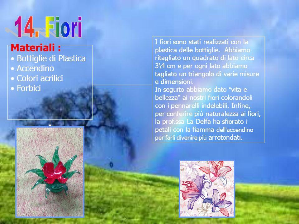 Materiali : Bottiglie di Plastica Accendino Colori acrilici Forbici I fiori sono stati realizzati con la plastica delle bottiglie. Abbiamo ritagliato