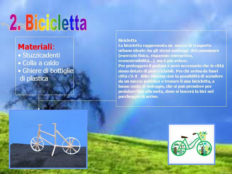 Materiali: Stuzzicadenti Colla a caldo Ghiere di bottiglie di plastica Bicicletta La bicicletta rappresenta un mezzo di trasporto urbano ideale: ha gl
