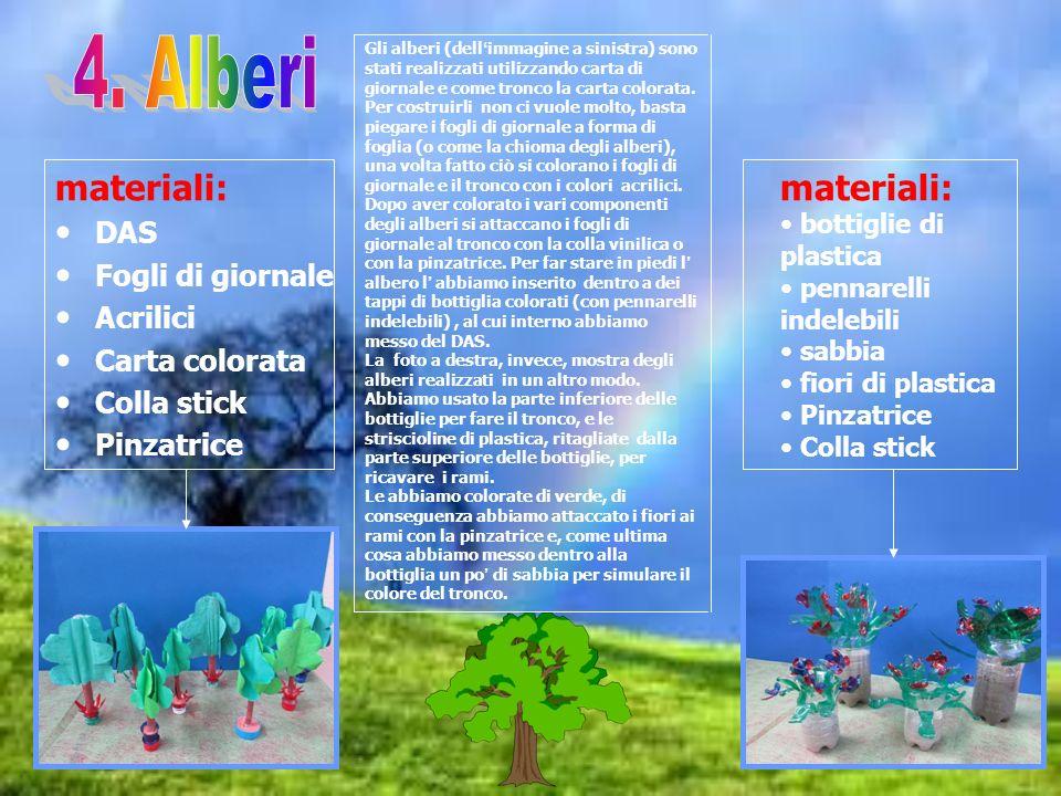 materiali: DAS Fogli di giornale Acrilici Carta colorata Colla stick Pinzatrice Gli alberi (dellimmagine a sinistra) sono stati realizzati utilizzando