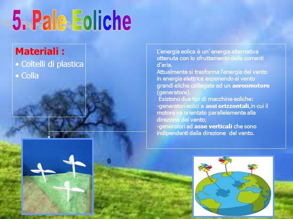 Materiali : Coltelli di plastica Colla L'energia eolica è un' energia alternativa ottenuta con lo sfruttamento delle correnti d'aria. Attualmente si t