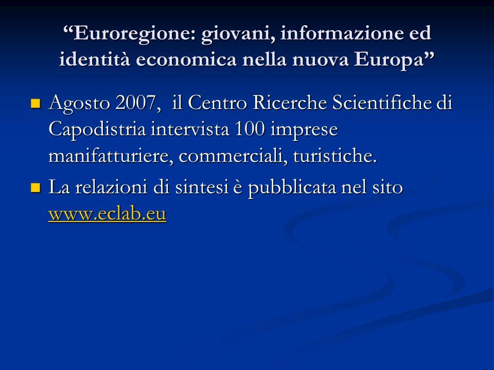 Euroregione: giovani, informazione ed identità economica nella nuova Europa Agosto 2007, il Centro Ricerche Scientifiche di Capodistria intervista 100 imprese manifatturiere, commerciali, turistiche.