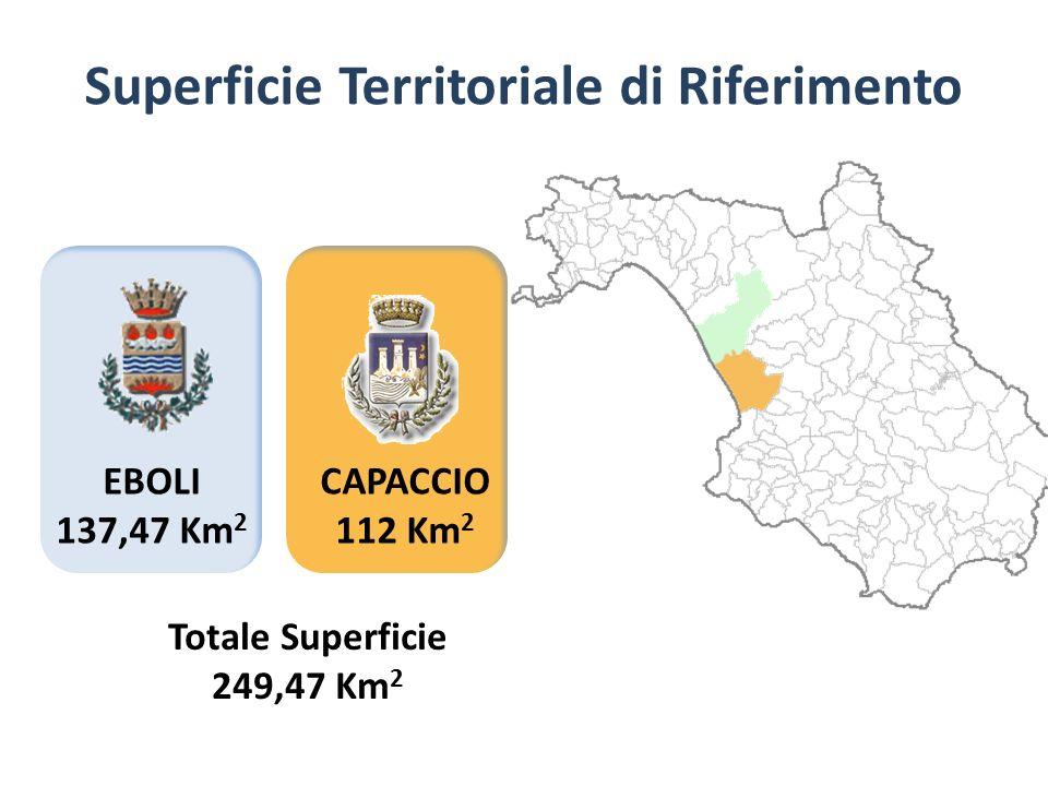 EBOLI 137,47 Km 2 Superficie Territoriale di Riferimento CAPACCIO 112 Km 2 Totale Superficie 249,47 Km 2