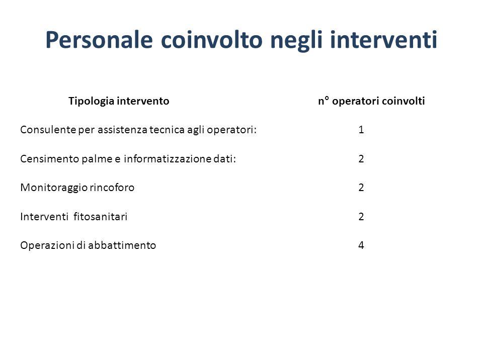Personale coinvolto negli interventi Tipologia intervento n° operatori coinvolti Consulente per assistenza tecnica agli operatori: 1 Censimento palme