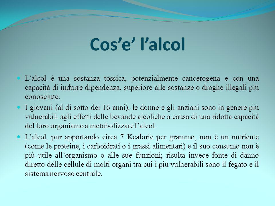 Cose lalcol Lalcol è una sostanza tossica, potenzialmente cancerogena e con una capacità di indurre dipendenza, superiore alle sostanze o droghe illeg