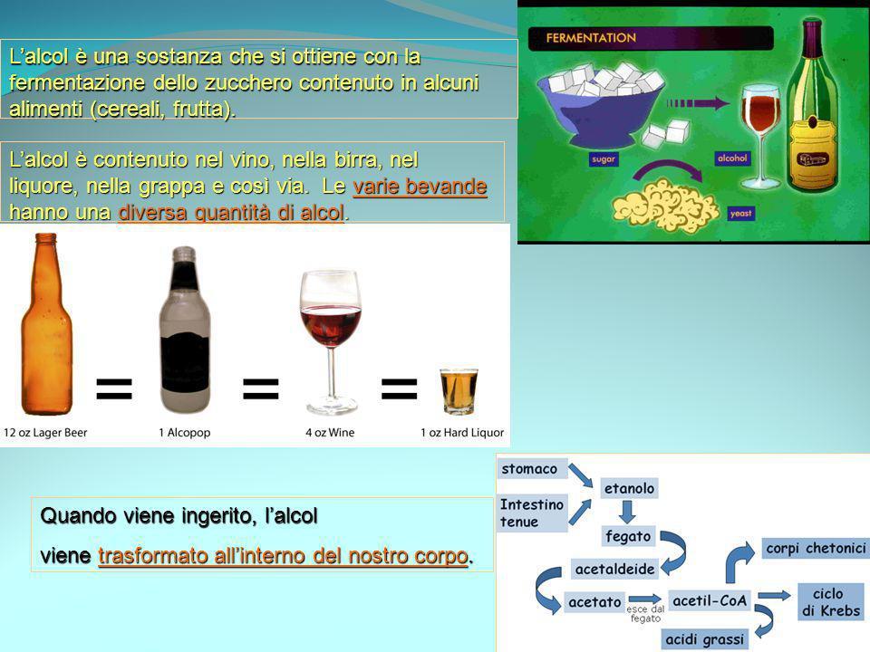 Lalcol è una sostanza che si ottiene con la fermentazione dello zucchero contenuto in alcuni alimenti (cereali, frutta). Lalcol è contenuto nel vino,