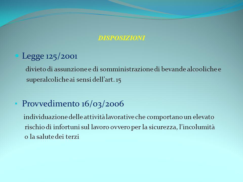DISPOSIZIONI Legge 125/2001 divieto di assunzione e di somministrazione di bevande alcooliche e superalcoliche ai sensi dellart. 15 Provvedimento 16/0